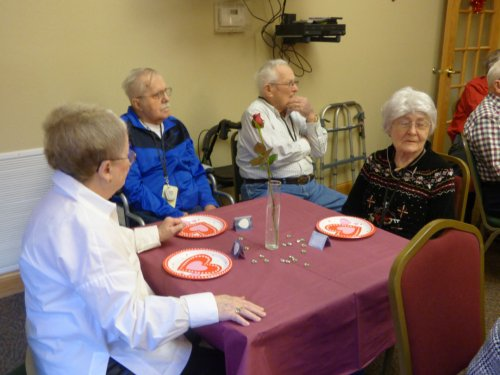 Residents enjoy the Valentines Party on February 14th.