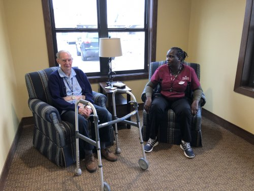 We love talking to our residents and seeing the kind of relationships that are built between our staff and residents is amazing.  Jake has been teaching Carolyne German and Carolyne has been teaching Jake African.  Your never too old to learn something new.