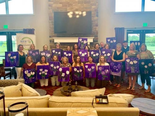 First Annual Pinot and Paint at Primrose of Midland.  We  partnered with Right at Home, Wines for Humanity, and Fresh Water Art Studios to raise money for the Walk to End Alzheimer's.  Fun evening with some great people.