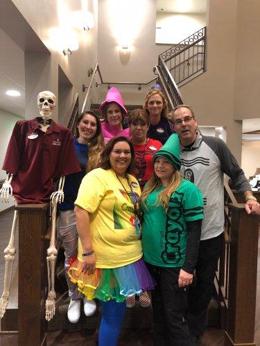 Midland staff dressed up as crayons.
