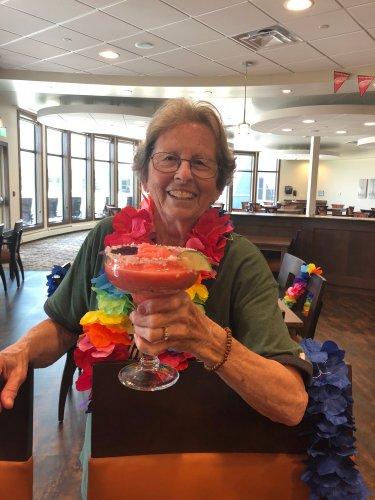 Sandra enjoying a nice drink at the longest day Celebration.