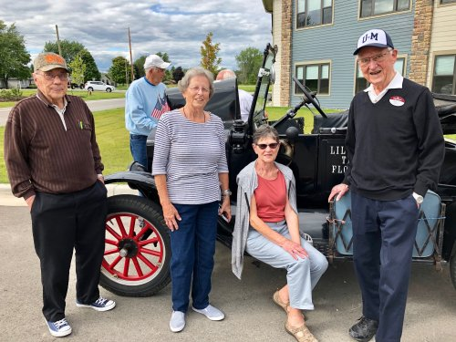 Enjoying ourselves and a special visit with this 1924 Model T car