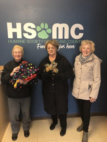 Dropping off the dog treats and blankets we made to The Humane Society