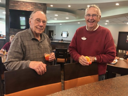 Hal and Tom enjoying  the PSU drink of the week.