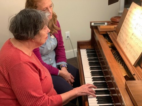Barb taking her turn at the piano.  Somethings are never forgotten!