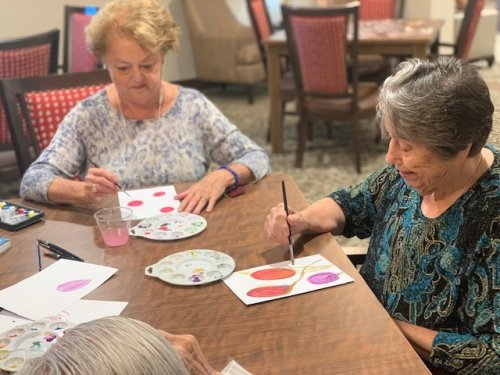 Art is on the calendar a lot for our residents.  Feel free to stop in anytime for an art class.