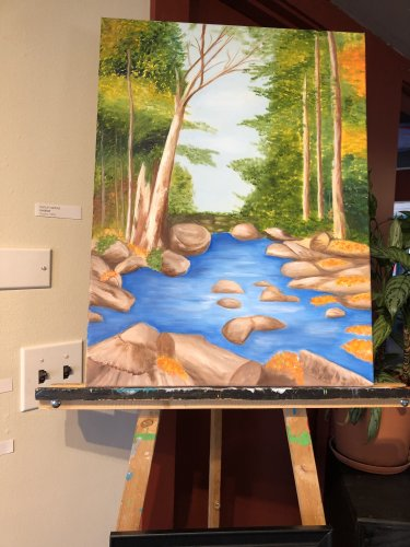 resident Shirley's  artwork displayed at the creative 360