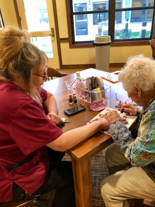 Marge is busy bedazzling our staff's nails.