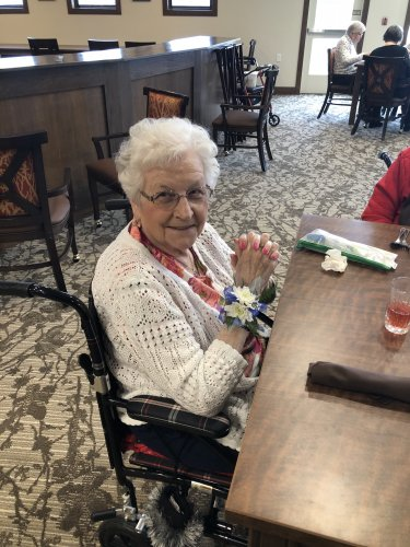Thanks to the Girl Scouts for donating their corsages to our residents.  It made their day!