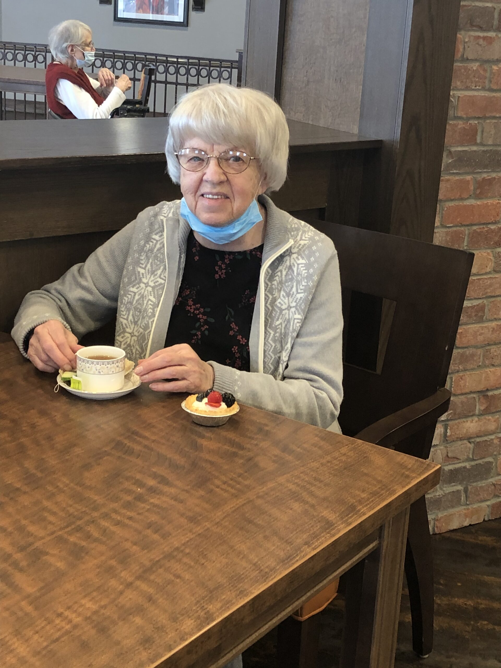 Janice enjoying her tea