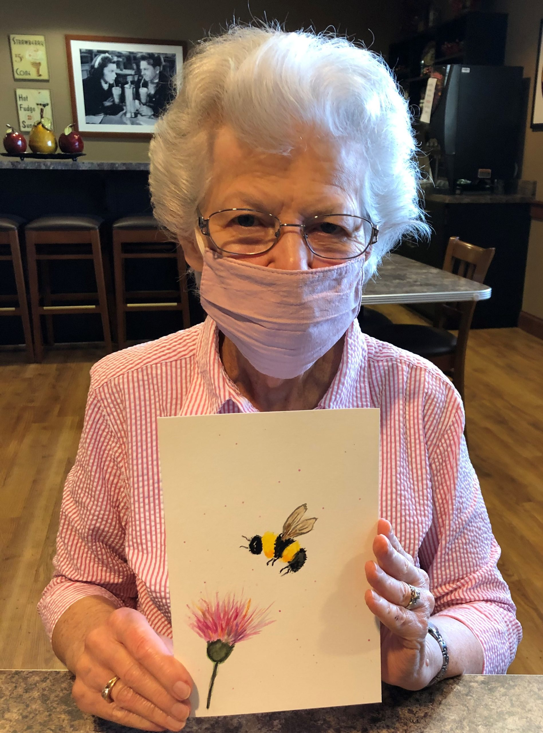 Lee enjoyed painting a bee during our watercolor class for beginners.