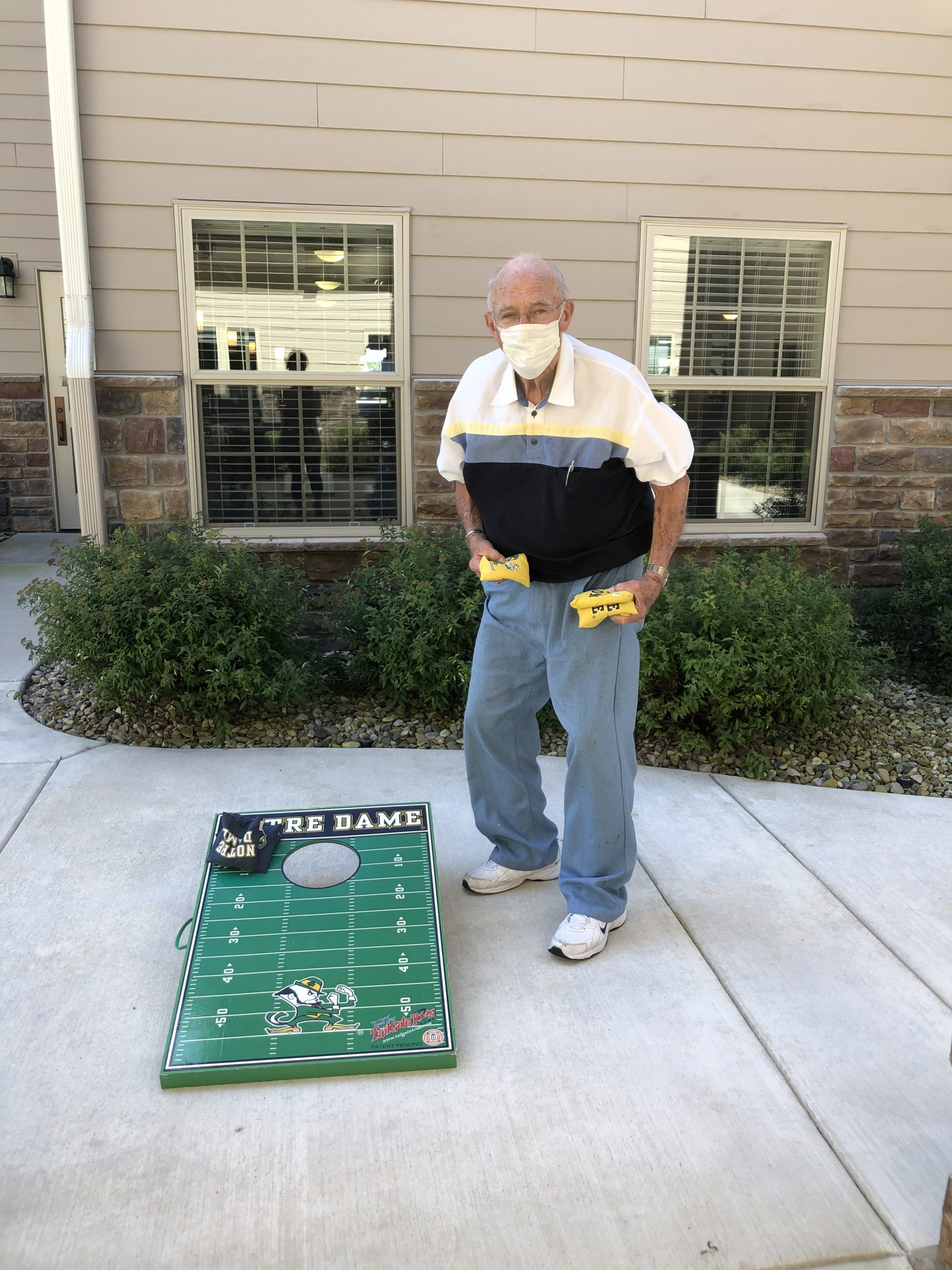 Bill is ready to challenge anyone to a game of Corn Hole.