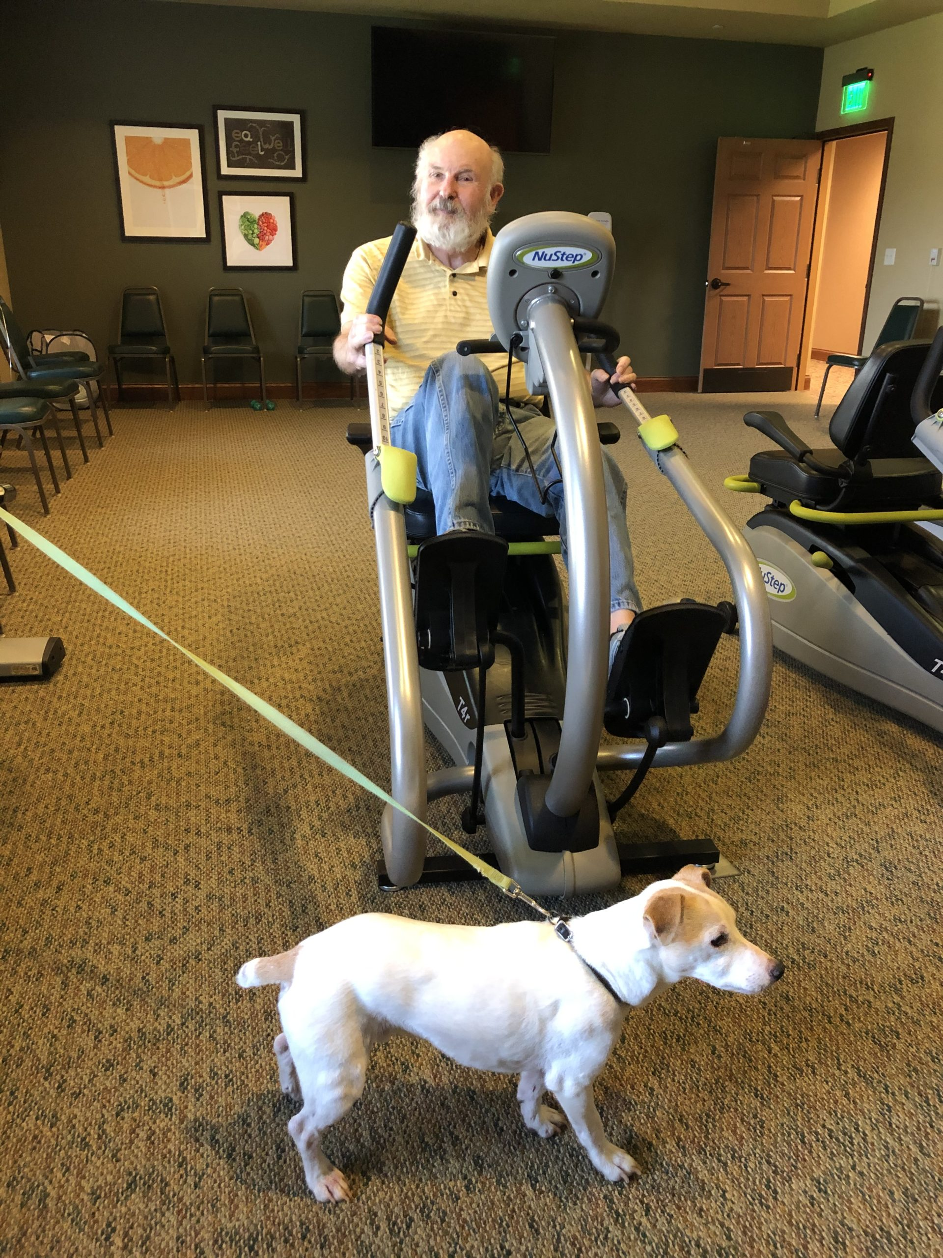 Jim and Scoot working out on National Dog Day!