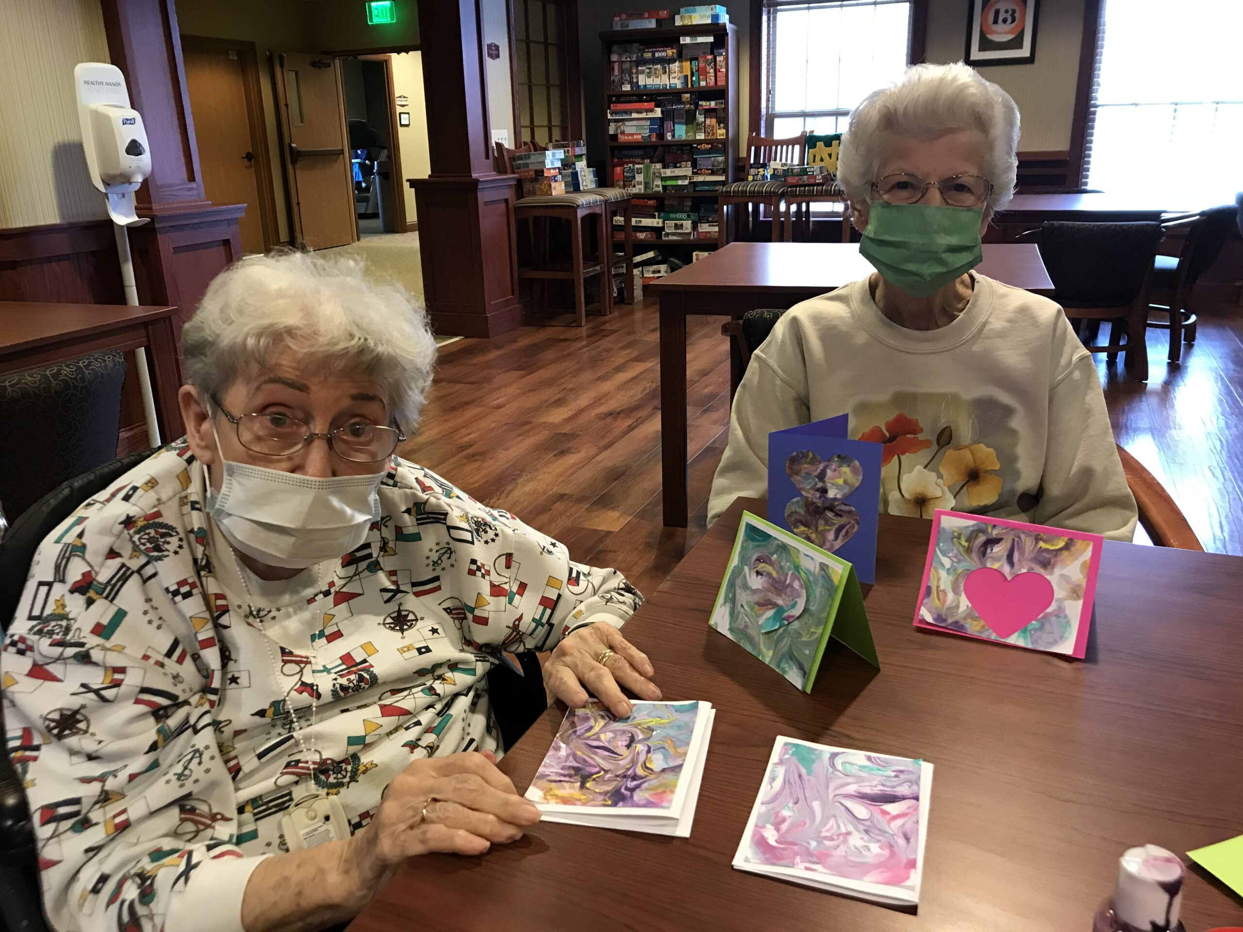 These ladies are getting a head start on creating homemade valentine cards!