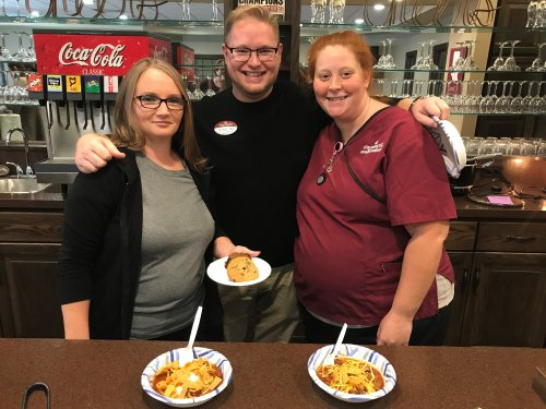 Our nursing staff enjoying chili at our Team Connection Employee Party.