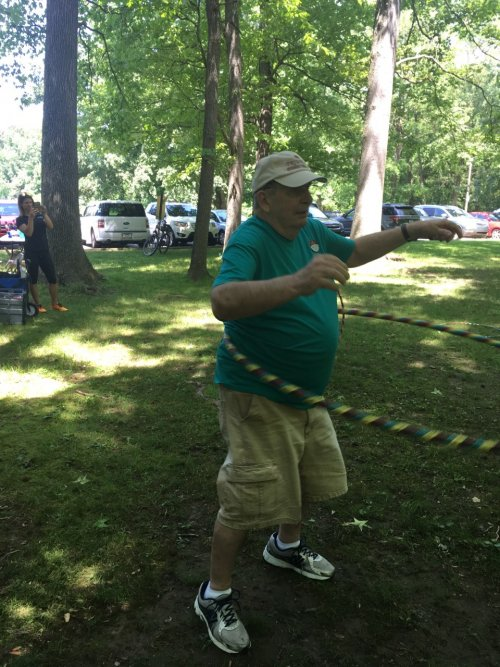 Dave showing off his hula hooping skills!