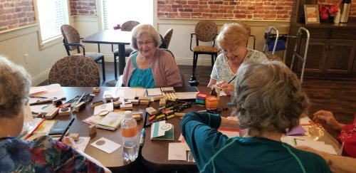 One of our residents has made every greeting card she has ever sent since 1949! She did a class and the ladies loved it! So, we added her class to the monthly calendar!