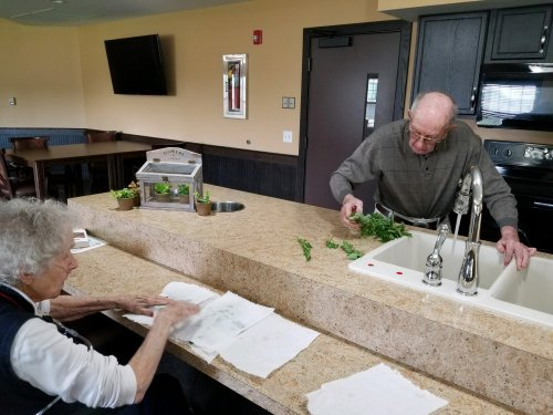 Resident's washing freshly picked herbs from our Memory Care Garden.