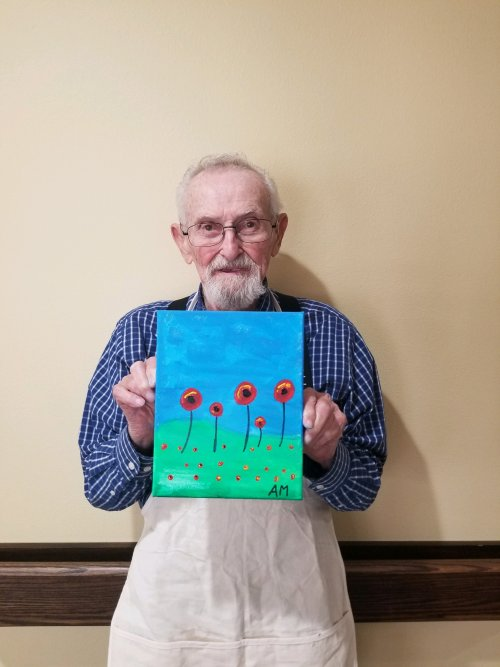 Albert painted this Memorial Day painting in remembrance of the soldiers.