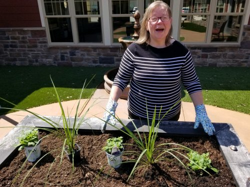 Nancy is working hard in our garden!