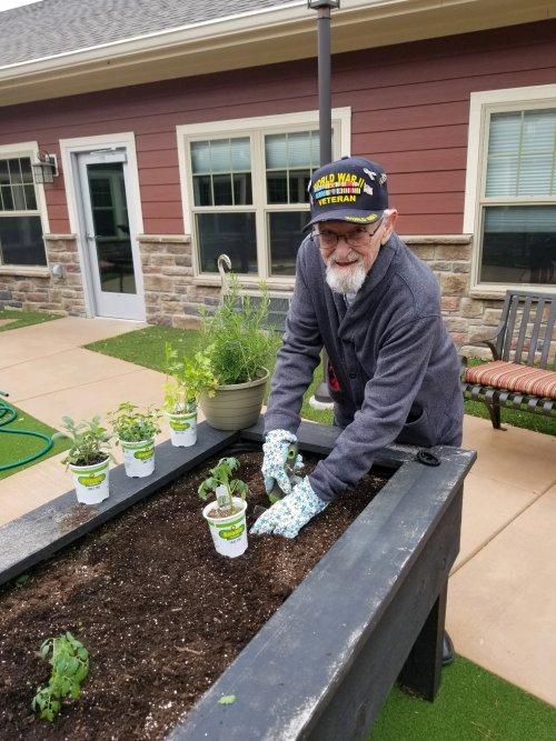 Albert loves to garden!
