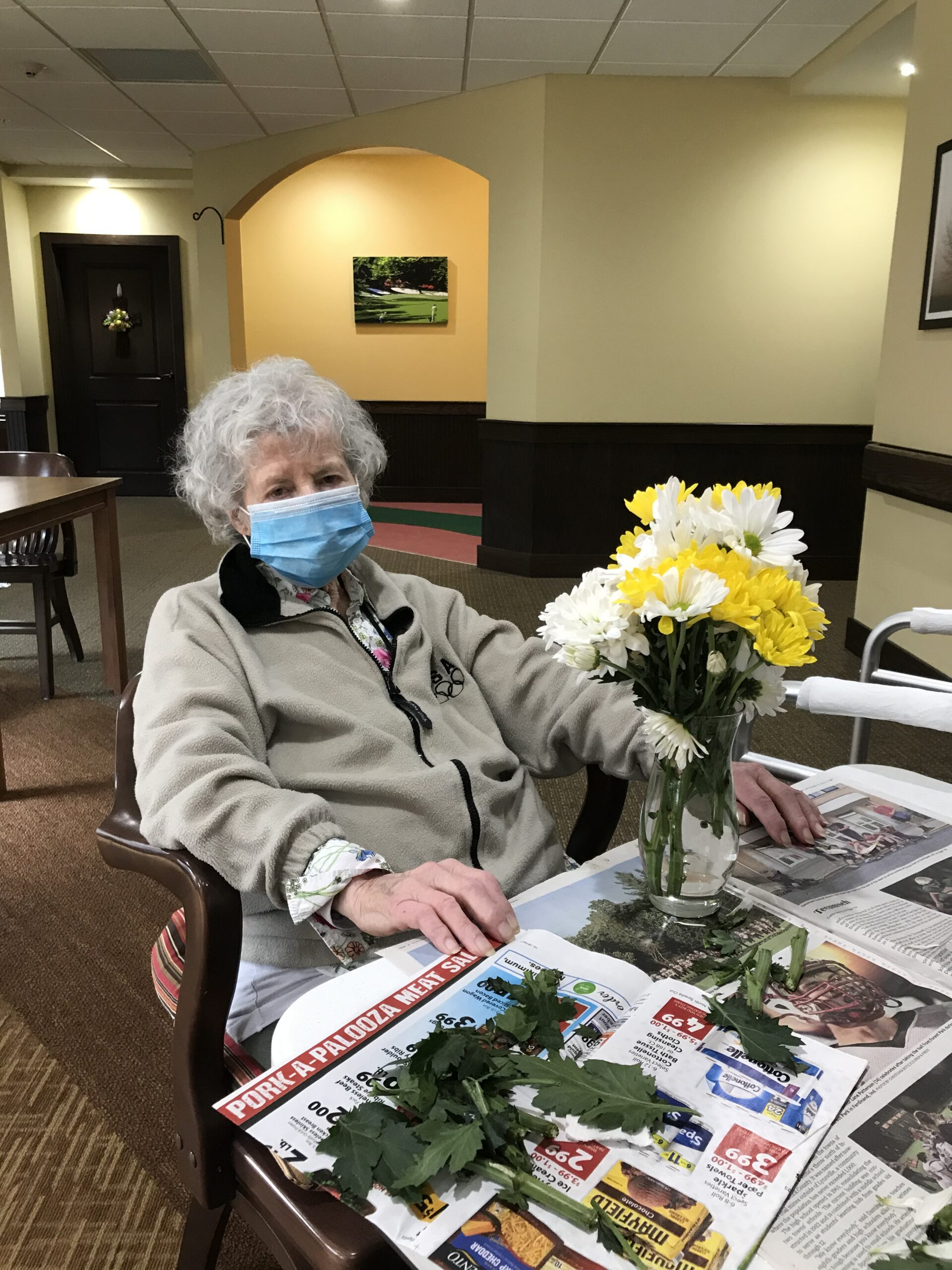 Joan showing off her floral arrangement