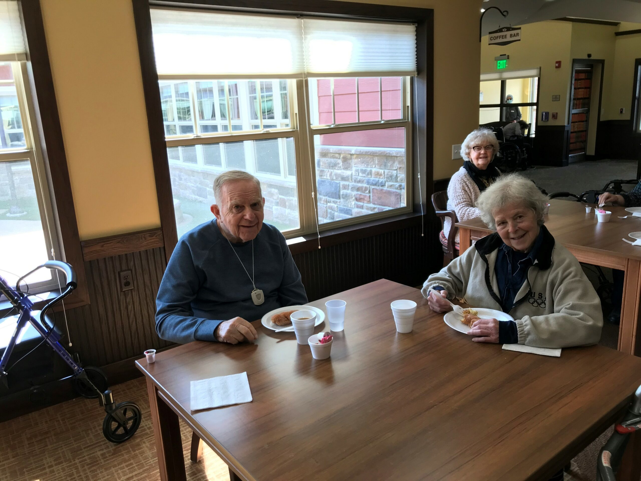 Jerry and Joan enjoying their pastries and coffee