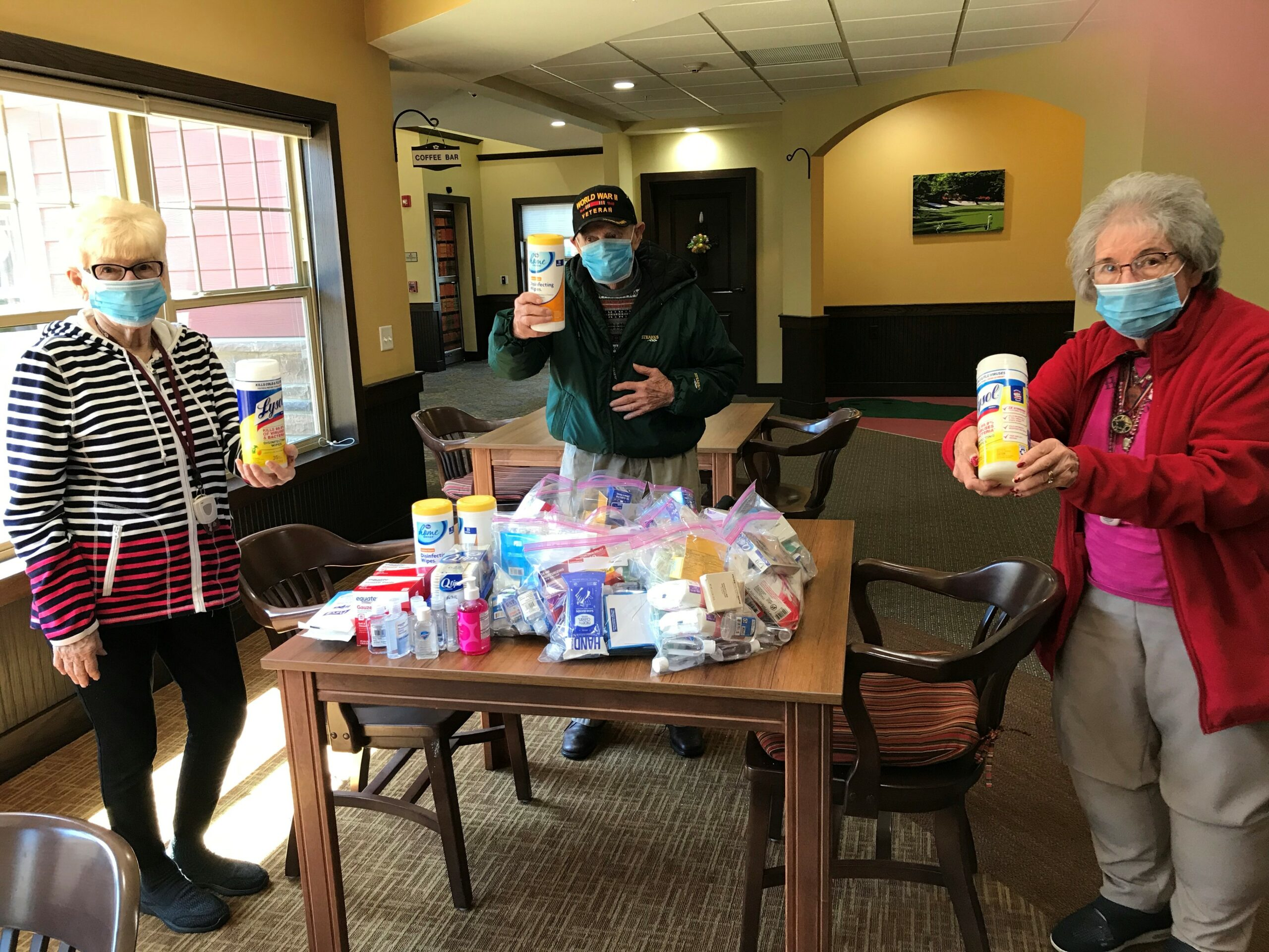 Residents putting together first aid boxes to take to local shelters