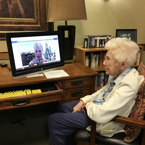 103 yr Helen, reaches out through technology. she was born with the first car.