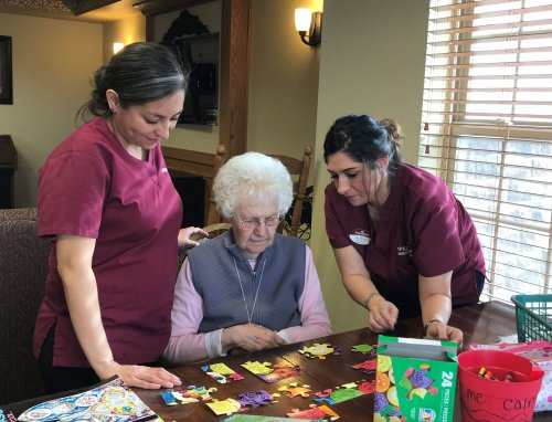 Puzzle Time and Sadie Time, Audrey and Ashley helping Sadie.