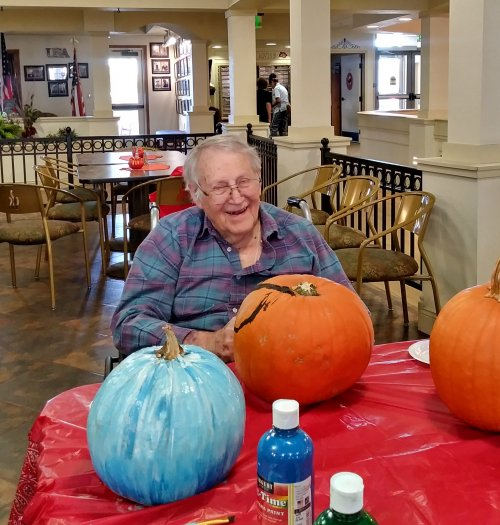 Pumpkin season brings out the giggles in Roger.