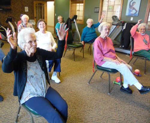 moving to the music with chair zumba!