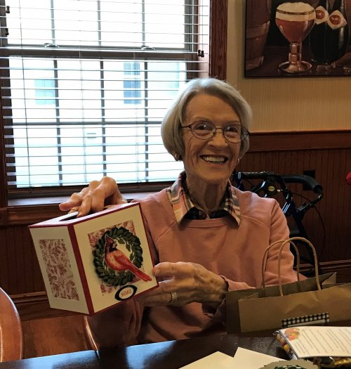 Barbara, our Holiday gift winner in our Cards Class.
