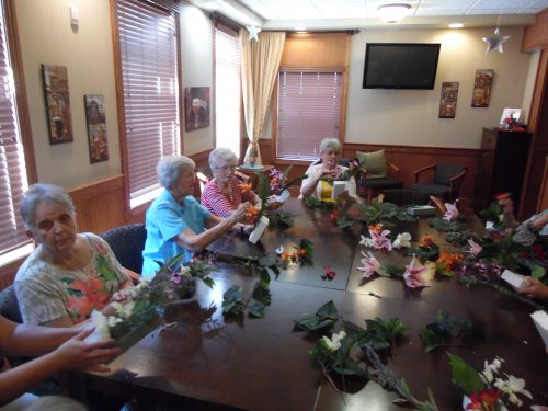 the ladies at Primrose getting ready for our Summer Luau
