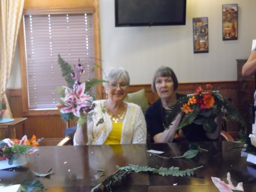 Lynne and Donna showing off their finished projects. So beautiful. everyone has talent