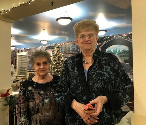 Connie and Nancy getting ready to sing Jingle Bell Rock.