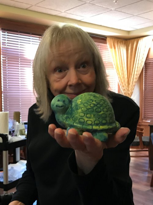 Glenda shows off her Finished Turtle. Great Job!