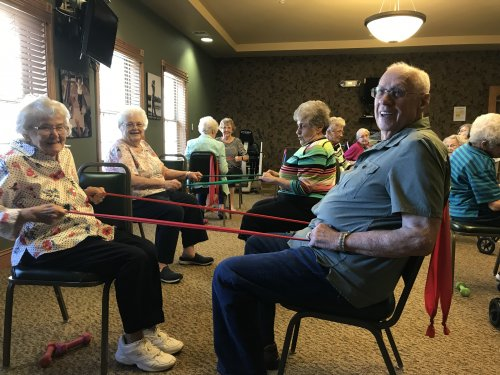keeping our bodies moving, one of our daily exercise classes. we always have a good time