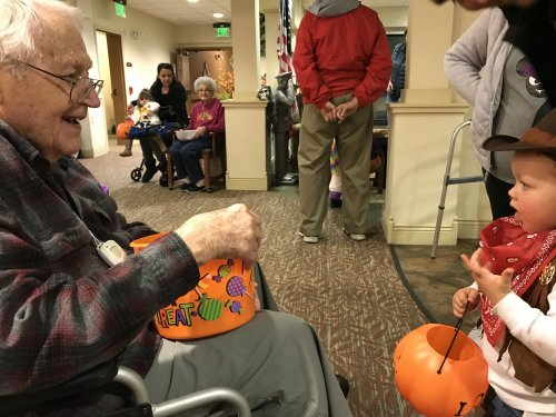 Roger enjoyed all our Trick or Treat guest, it brought the big smile out of him.