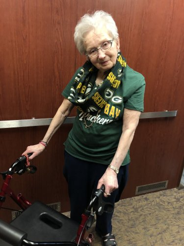 Joan is all set to watch Monday night football! GO PACK GO!!!