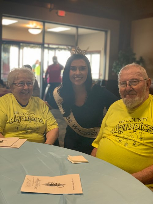 Miss Wisconsin posing with Don and Mary at the 2019 Tri-County Senior Olympics!