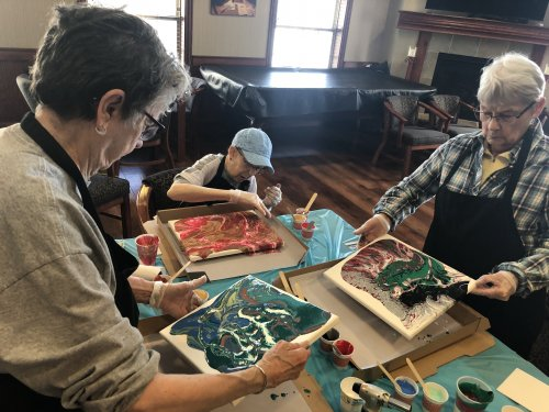 our acrylic pour painting activity! Thank you to all family and friends that participated!