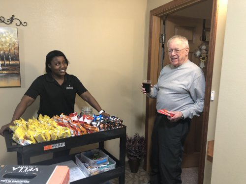 Our main goal is to keep our residents safe and happy! a nice visit with snacks and beverages!