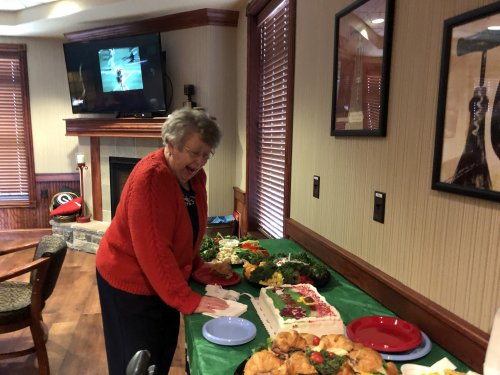 Joyce was amazed by our spread for the Super bowl party!