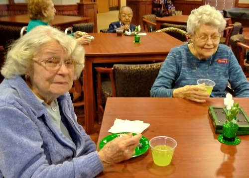 Jean and Winona having a fun time at our St. Patrick's Day party.