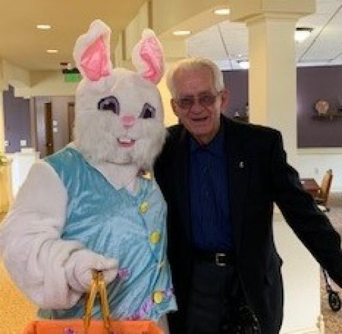 Carlo and his friend are dressed in their Easter best.
