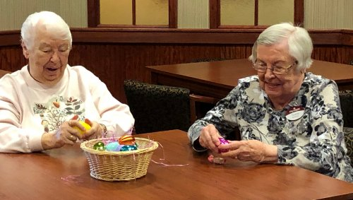 Marge and Tootie cracking open their Easter eggs.