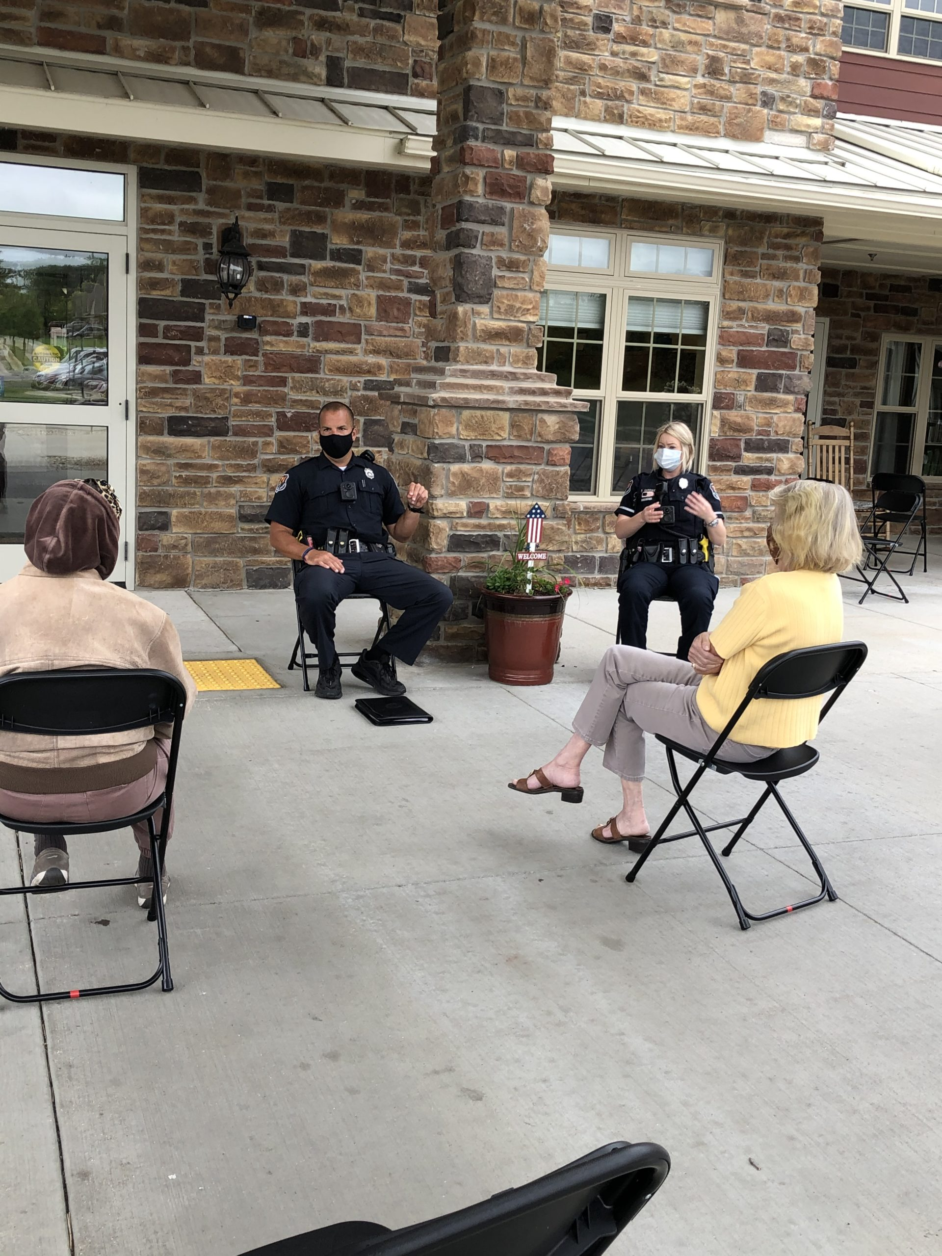 Two Officers of the Mt Pleasant police  educate our residents on fraud prevention