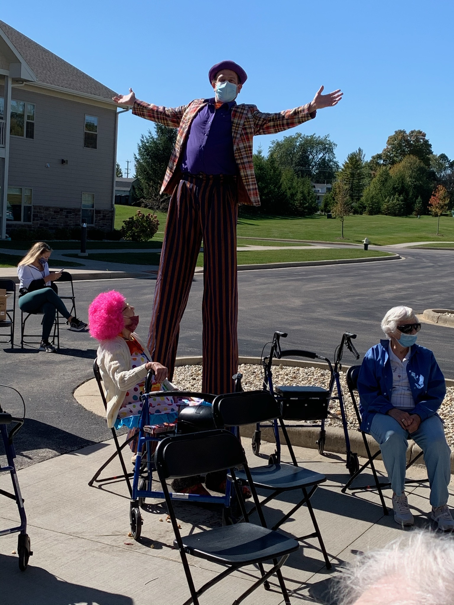 We were happy to have Kevin Adair entertain us.  Kevin was the Stilt Walker in the movie