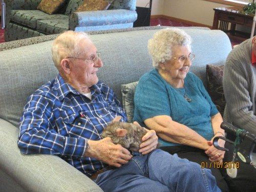Residents enjoying time with some unusual pets.